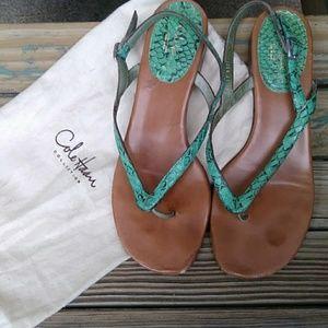 🍁Cole Haan Snake Skin Green Sandals